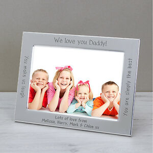 Personalised Silver Plated Photo Picture Frame Iwe Love You Daddy