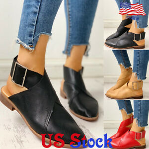 Women-Pointed-Toes-Low-Heel-Belt-Buckles-Ankle-Strap-Single-Mules-Shoes-Loafers