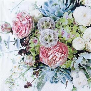20 Servietten Flower Variety Blumen Hochzeit Tischdeko Farbig