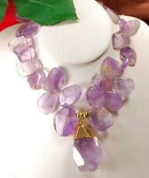 Ny6design Natural Amethyst & Large Nugget Gold Toggle Necklace 18 W/gift Box