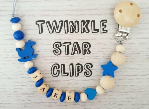 Personalised Wooden Dummy Clip Rocking Horse Baby Gift Handmade Dark Blue Love