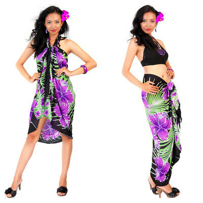 1 World Sarongs Womens Hawaiian Floral Cover-Up Sarong in Blue//Turquoise