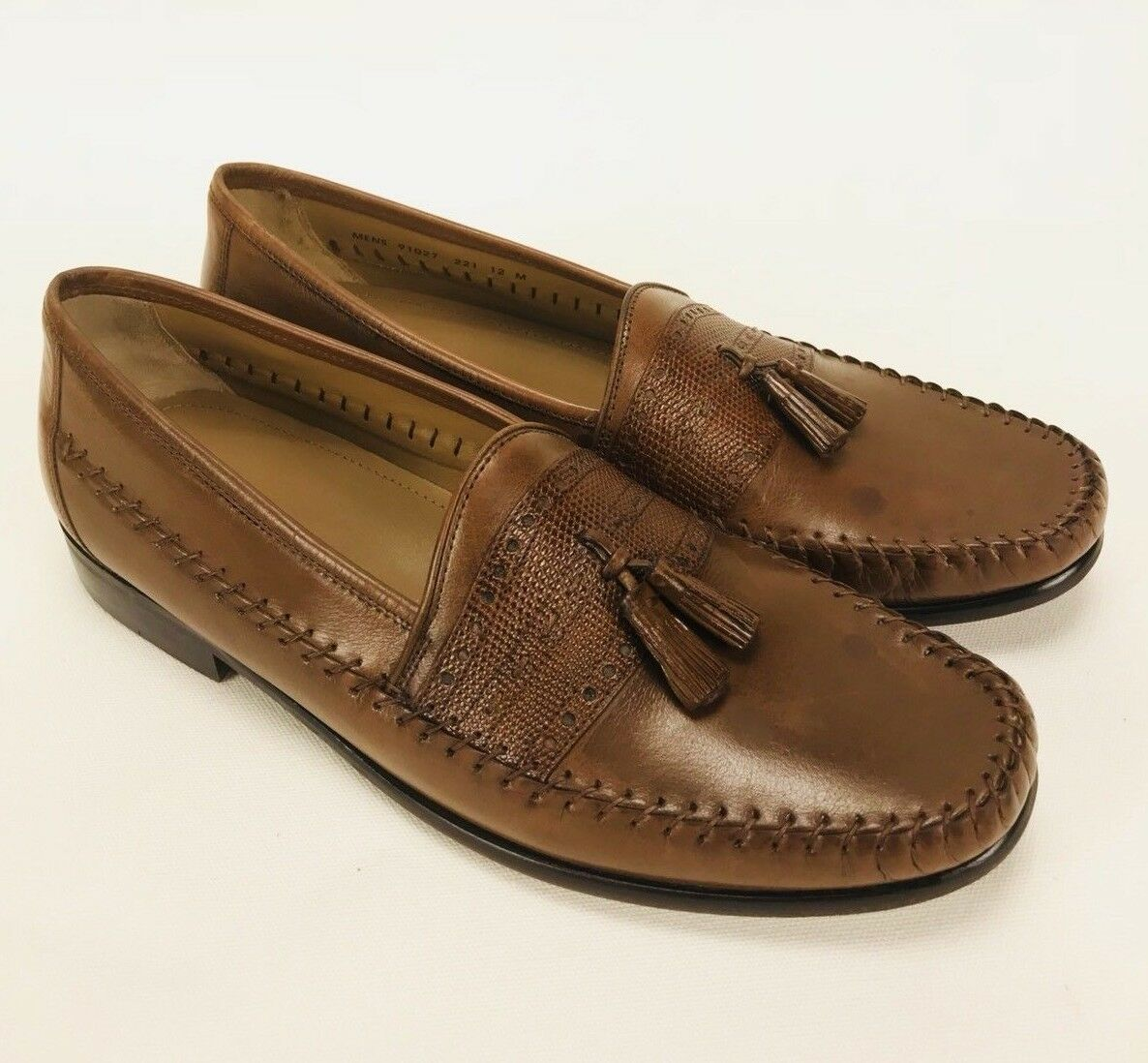 Brass Boot Brown Leather Loafers Tassel Mens Size 12M