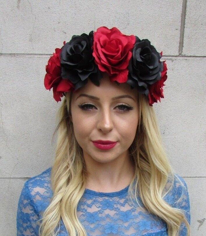 Large Hot Pink Sugar Skull Rose Flower Headband Headpiece Day of the Dead 4006