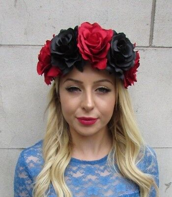 Large Halloween ROSE {Day of the Dead} Black//Red Flower Garland Elastic Headband