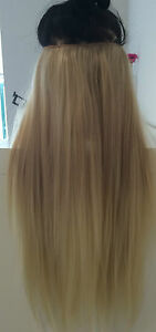Dip-Dye-Ombre-Hair-Extensions-20-034-130g-Ash-Blonde-Blonde-Full-Head-clip-in-S