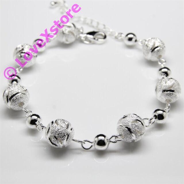 925 Sterling Silver Plated Engrave Frost Pearl Chain Bracelet Bangle Bracelets