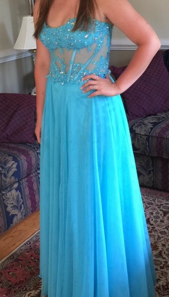 Prom Dress - Worn once - dry cleaned - teal, sequenced corset and skirt. Size  M