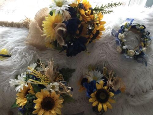 Mariage Fleurs Mariage bouquets décoration TOURNESOLS bleu marine 28pc
