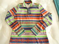 Womens Size Xs Chaps Striped Western Print Long Sleeve Shirt Msrp $59.00