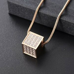 Rose-Gold-Diamante-Cube-Cremation-Urn-Pendant-Ashes-Necklace-Funeral-Memorial