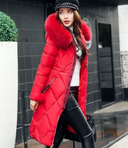Women Mid Long Overcoat Slim Fit Korea Thick Hood Fur Collar Jacket Formal Warm