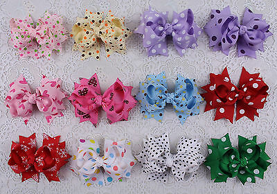 "Lot 12pcs girl baby mix gift  3"" boutique Hair Bows Grosgrain ribbon 2617-2628"