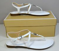 NIB MICHAEL KORS BETHANY OPTIC WHITE PAT LEATHER FLIP FLOP SANDALS SHOES SZ 5-10