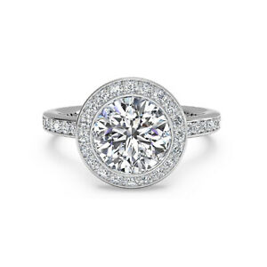 1.15 Ct Round Solitaire Moissanite Engagement Ring 18K Solid White Gold Size 4