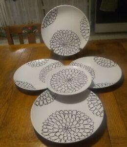 5 Vintage Black White Floral Motif Dinnerware Great Gatherings~4 Dinner &1 Salad