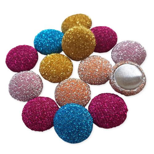 20pcs Glitter Fabric Covered Embellishments Faux Button Flatback Cabochon Craft