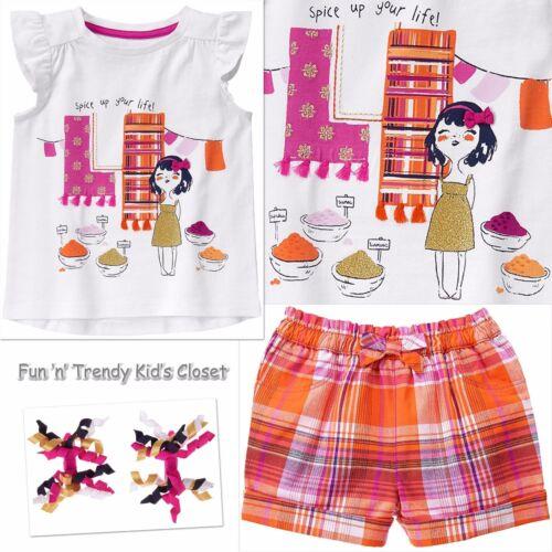 NWT Gymboree SPICE MARKET Girls Size 4T 5T Shorts Tee Shirt Hair Clips 3-PC SET