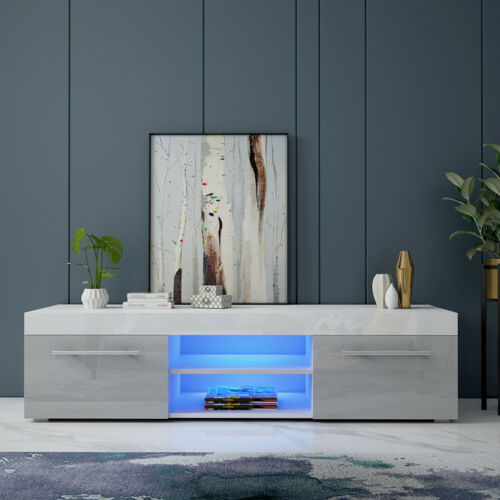 1xWhite TV Unit Cabinet Stand 135cm With 2 Grey High Gloss Large Drawers RGB LED