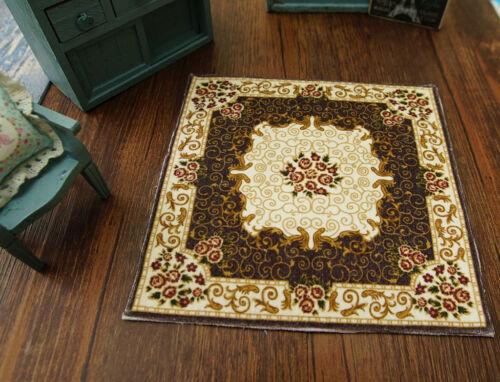 1:12 Dark Coffee Brown Beige Rose Floral Aubusson Design Dollhouse Rug
