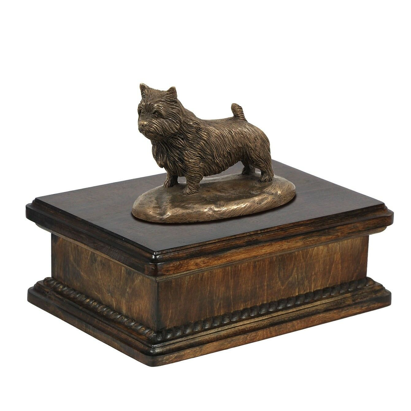 Norwich Terrier  exclusive urn with dog statue, High Quality, Art Dog