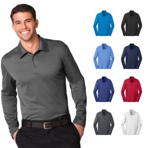 Mens-Long-Sleeve-Polo-Silk-Touch-Performance-Sport-Shirt-3-Button-Golf-K540LS