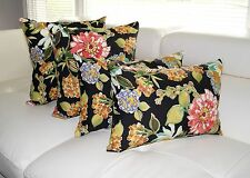 Floral Outdoor Pillows, Rose Ivory Green Black Outdoor Throw Pillows - 4 PK