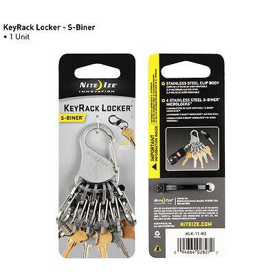 KEY RACK LOCKER with 6 S BINER MICROLOCK KEY CHAIN KEY RING SMART LOCKING CLIPS