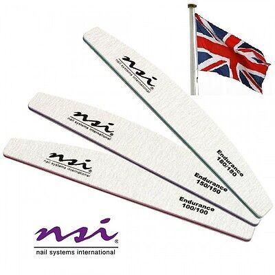 3 NSI Dura Nail Files  (Endurance)   180, 150 & 100 Grit for Gel/Acrylic Nails