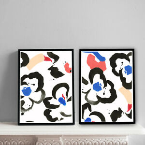Home-Prints-A4-Abstract-Black-Floral-Red-and-Blue-Gift-Wall-Art-NO-FRAME