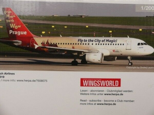 1 1 1 200 Herpa CSA Czech Airlines Airbus A319 Prague City of Magic 558075 2e770f