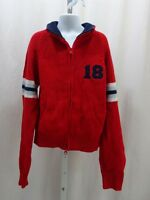 Red Girls/boys Zip Front Heavy Long Sleeve Cotton Sweater Costo 10