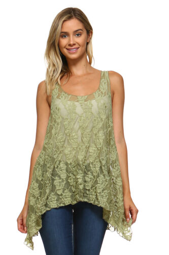 Women/'s Sleeveless Lace Swing Tank Top Tunic Blouse Made in USA S M L XL