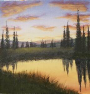 Original-Impressionism-Sunset-Landscape-Art-Acrylic-Painting-Signed-10-10-inch