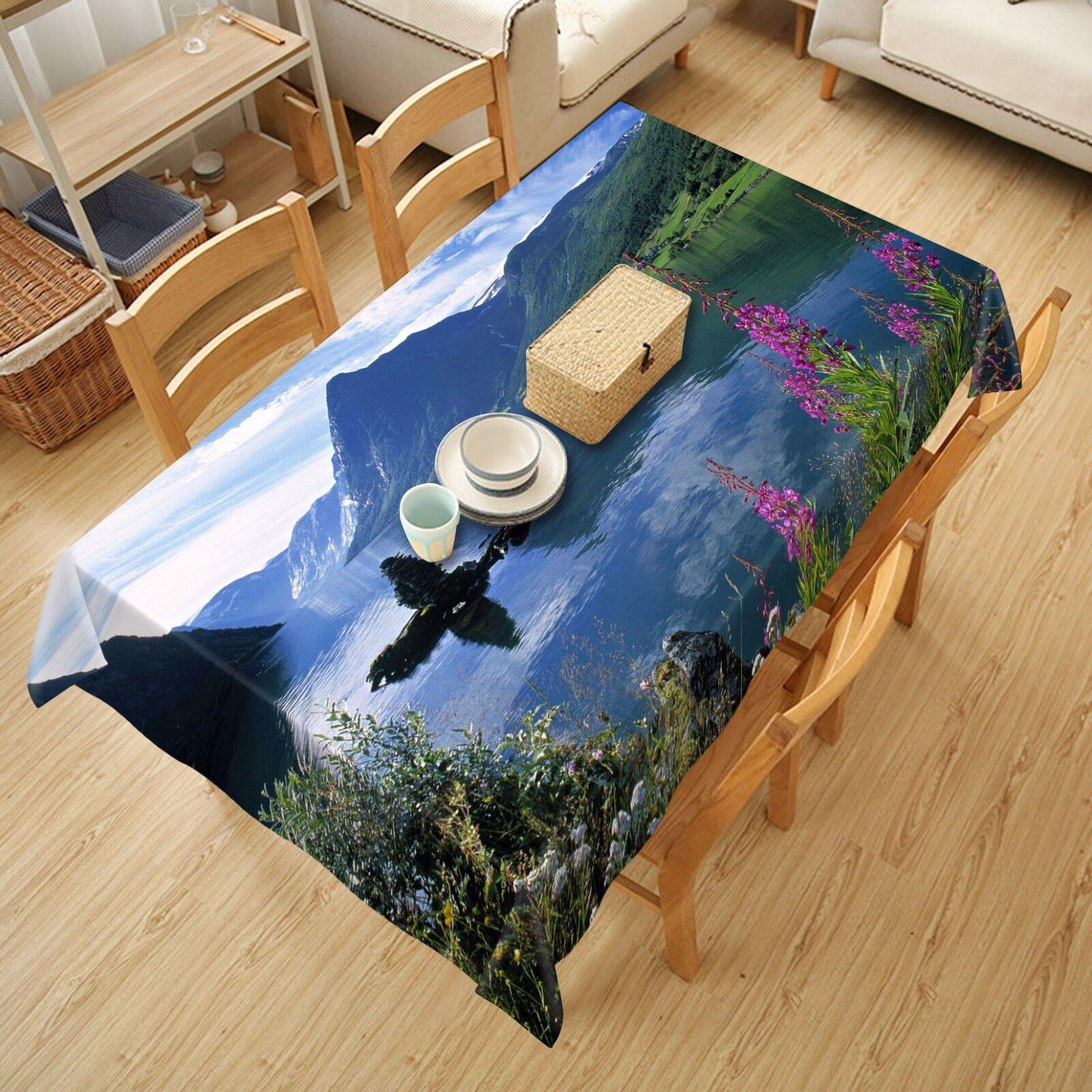 3D River 59 Tablecloth Table Cover Cloth Birthday Party AJ WALLPAPER UK Lemon