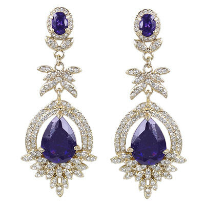 H-Quality Zircon Teardrop Dangle Earrings Purple Austrian Crystal Gold GP Women