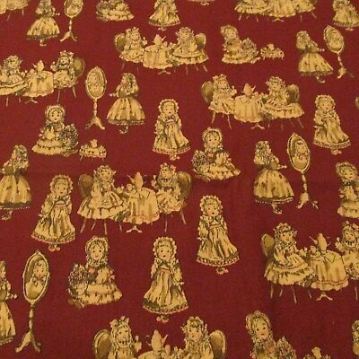 Vtg 80s burgundy cotton fabric doll scene tea party BTHY half yard