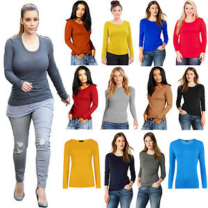 e428de4cd133e New Ladies Plain Stretch Round Scoop Neck T Shirt Tee Fitted Long ...