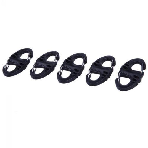 5PCS Mini S-Type Carabiner Keychain Plastic Steel Climbing Hooks Dual Buckles