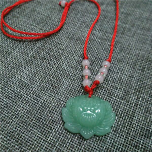 Natural-Green-Jade-Lotus-Pendant-Necklace-Fashion-Lucky-Charm-New-Trendy