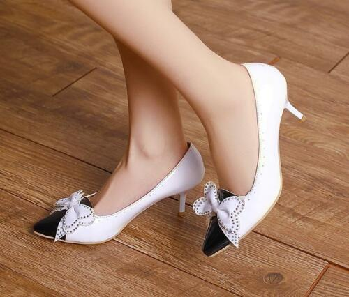 Women Kitten Heels OL Shoes Pointy Toe Wedding Shoes Carved Lovely Pumps Sz X910