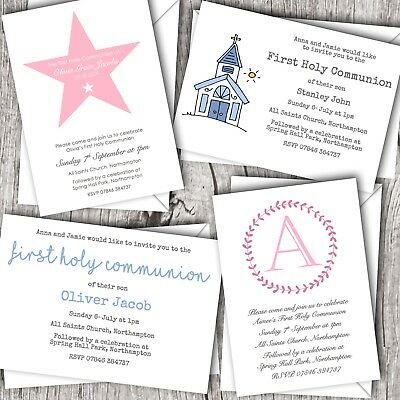 First Holy Communion Invitations Personalised Boy Girl Designs Ebay