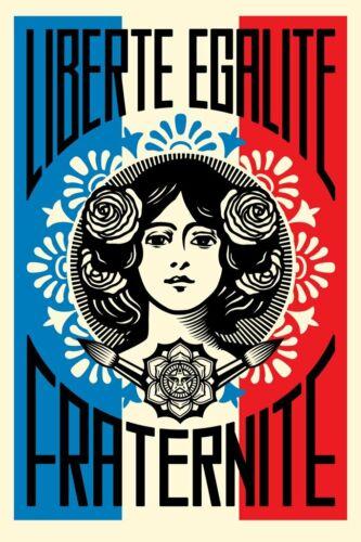 SIGNED Shepard Fairey Liberte Egalite Fraternite Print Poster Obey Giant 24x36