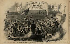 Memphis-War-on-Mississippi-Truce-New-Orleans-1862-Civil-War-Leslie-039-s-old-print