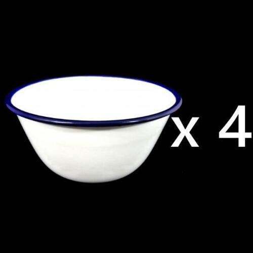 Set of 4 Traditional Falcon White Enamel Pudding Basin Dish