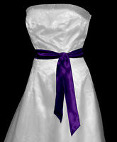 PURPLE Satin Wedding Fancy Dress Party Sash Tie Belt Tie Band Bridesmaid Bow