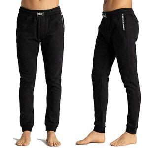 EVERLAST-pantalone-felpato-da-uomo-sport-tuta-nero-palestra-tasche-zip-e-polsino