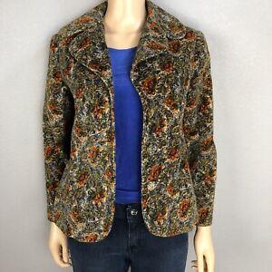 Vintage 60s retro Mod floral print open front top jacket