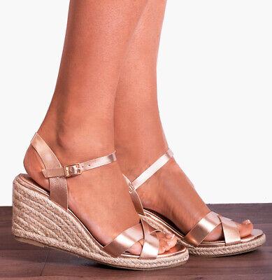 Rose Oro Metallizzato Incastrata Tela Zeppe Criss Cross Cinturino Alla Caviglia Sandali-mostra Il Titolo Originale Giada Bianca