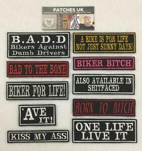 Embroidered-Words-Slogan-Biker-Motorcycle-Scooter-Patches-Iron-On-Sew-On-Velcro